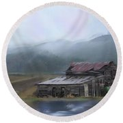 Round Beach Towel featuring the photograph Riverside Barn by Mary Timman