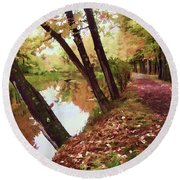 Riverside Round Beach Towel by Betsy Zimmerli
