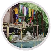 Riverside House And It's Laundry Round Beach Towel