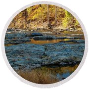 Round Beach Towel featuring the photograph Riverside by Iris Greenwell