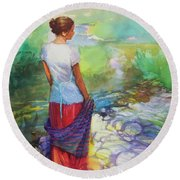 Riverside Muse Round Beach Towel