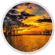 Round Beach Towel featuring the photograph Riverview Beach Park Sunset by Nick Zelinsky