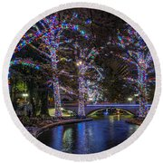 Round Beach Towel featuring the photograph Riverwalk Christmas by Steven Sparks