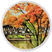 Round Beach Towel featuring the painting Riverwalk Covered Bridge by Christopher Arndt