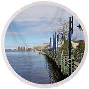 Riverwalk In Wilmington Nc Round Beach Towel