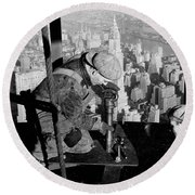 Riveters On The Empire State Building Round Beach Towel by LW Hine