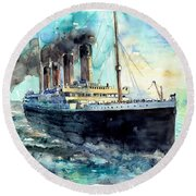 Rms Titanic White Star Line Ship Round Beach Towel