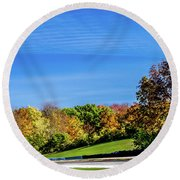 Road America In The Fall Round Beach Towel