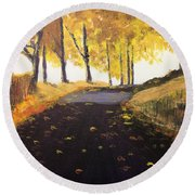 Road In Autumn Round Beach Towel