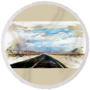 Road In The Desert Round Beach Towel