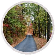 Road In The Woods Round Beach Towel