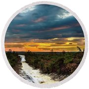 Road Into The Pinelands Round Beach Towel