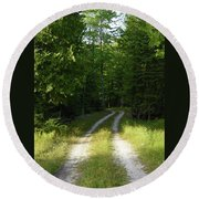 Road Into The Woods Round Beach Towel
