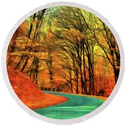Road Leading Through The Autumn Woods Round Beach Towel