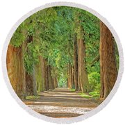 Road Less Traveled Round Beach Towel