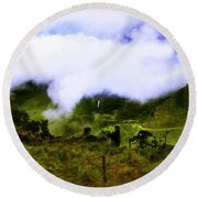 Round Beach Towel featuring the photograph Road Through The Andes by Al Bourassa