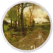 Road Through The Woods Round Beach Towel