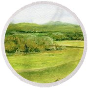 Road Through Vermont Field Round Beach Towel