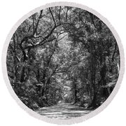 Road To Angel Oak Grayscale Round Beach Towel