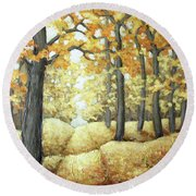 Road To Autumn Round Beach Towel by Inese Poga