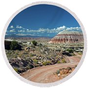 Road To Cathedral Valley Round Beach Towel