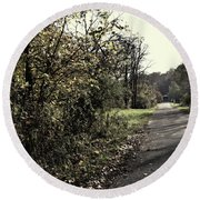 Road To Covered Bridge Round Beach Towel by Joanne Coyle