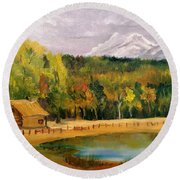Road To Kintla Lake Round Beach Towel by Larry Hamilton