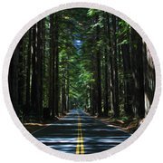 Road To Mendocino Round Beach Towel