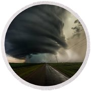 Round Beach Towel featuring the photograph Road To Mesocyclone by Aaron J Groen