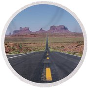 Road To Monument Valley  Round Beach Towel
