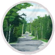 Road To Northport - Summer Round Beach Towel
