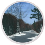 Road To Northport - Winter Round Beach Towel
