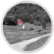 Road To Red Round Beach Towel