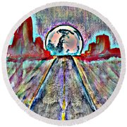 Round Beach Towel featuring the painting Road To Sedona 2 by Reed Novotny