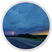 Lightning Over Sonora Round Beach Towel by Ed Sweeney