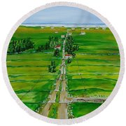 Road To The Beach Round Beach Towel