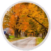 Road To The Farm Round Beach Towel