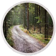 Road To The Light Round Beach Towel