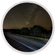 Round Beach Towel featuring the photograph Road To The Milky Way by Andy Crawford