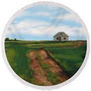 Road To The Past Round Beach Towel