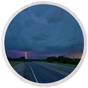 Road To The Storm Round Beach Towel