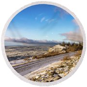 Road, Tracks, And Water Round Beach Towel