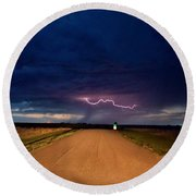 Road Under The Storm Round Beach Towel by Ed Sweeney