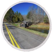 Road View Of Mabry Mill Round Beach Towel