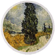 Road With Cypresses Round Beach Towel