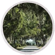 Road With Live Oaks Round Beach Towel
