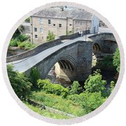 Roadbridge Over The River Tees Round Beach Towel