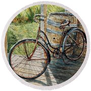 Roadmaster Bicycle 2 Round Beach Towel by Joey Agbayani