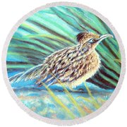 Round Beach Towel featuring the pastel Roadrunner Fluffing Sold   Pastel by Antonia Citrino