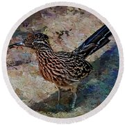 Round Beach Towel featuring the painting Roadrunner Making Nest by Penny Lisowski